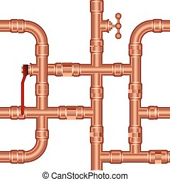 Vector background of brass pipeline construction