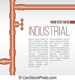 Vector background illustration, brass pipeline construction