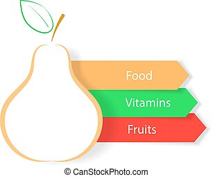 Pear on a white background Infographics natural products