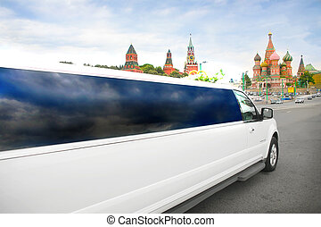 wedding limousine against Red Square in Moscow