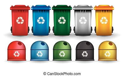 Colorful recycle trash bins and containers vector set