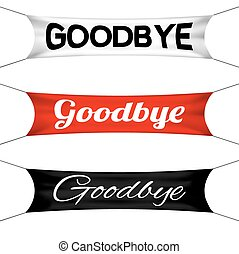 Goodbye banner flag vector set