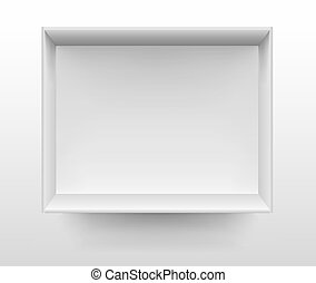 Empty white shelf on wall vector