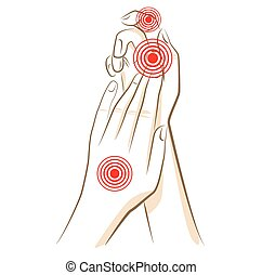 Concept of woman pain in hands, vector