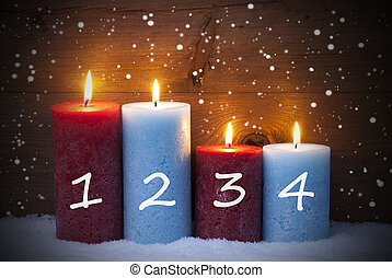Christmas Card With Four Candles For Advent, Snowflakes -...