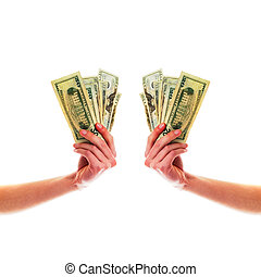 Symmetric hands holding cash - Two hands perfectly...