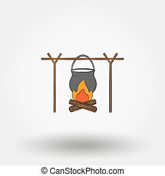 Pot on a campfire Icon for web and mobile application Vector...