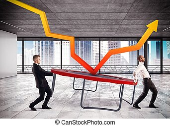 Bounce the crisis - Businessmen bounce an arrow on a...