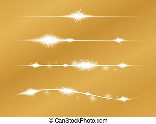 Set of Vector glowing light effect stars with sparkles