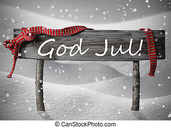 Gray Card With Sign, Swedish God Jul Mean Merry Chrsitmas -...