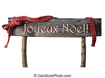 Isolated Sign Joyeux Noel Mean Merry Christmas, Red Ribbon -...