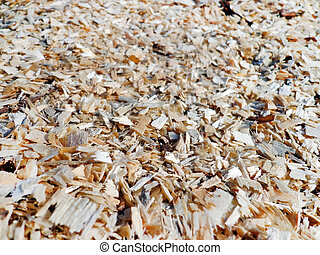 Sawdust - The surface is covered with the sawdust...