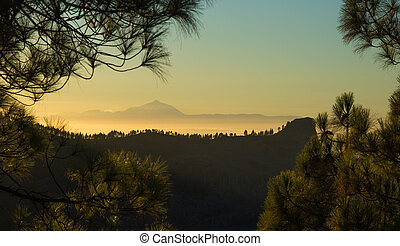 Gran Canaria, sunset from Las Cumbres, Teide on Tenerife...
