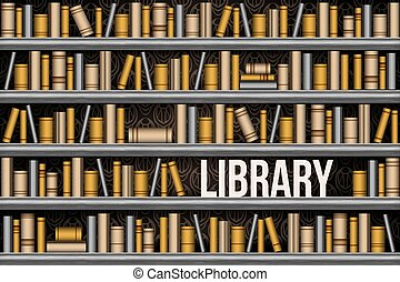 Library bookshelf, seamless vector illustration