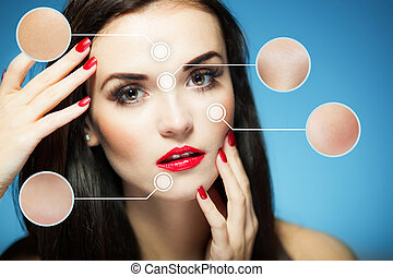 Beauty face concept, anti aging procedures