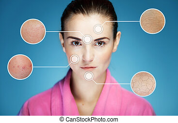Concept of skincare and skin problems of face with...