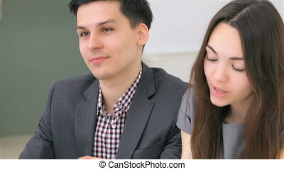 Young attractive couple discuss - Young attractive couple...