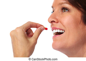 Woman with pill. Health care concept background.