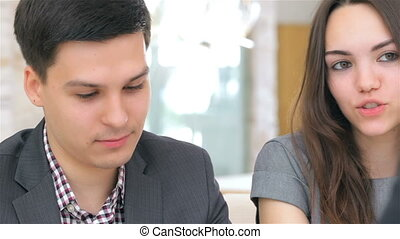 Young attractive couple meet - Close-up of face, young...