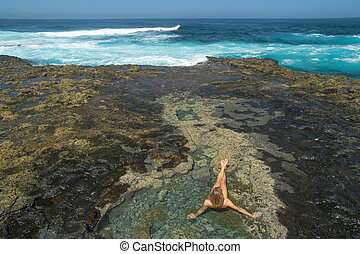 Gran Canaria, west end of El Confital beach, naturist is...