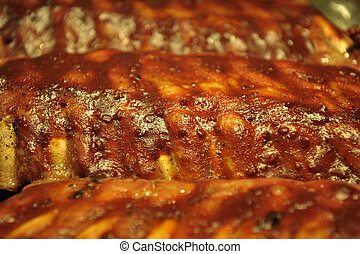 Danish Back Ribs - Danish back ribs with bar-b-q sauce