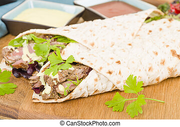 Grilled Beef Wraps - Griddled sirloin steak, sliced and...