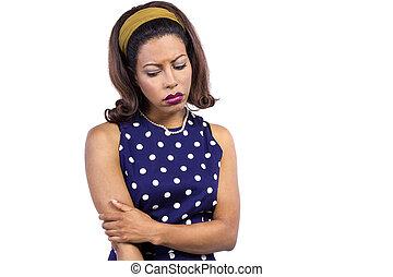 Worried Woman Wearing Polka Dot - Depressed black female...