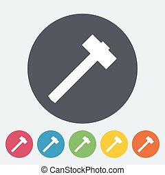 Hammer Single flat icon on the circle button Vector...