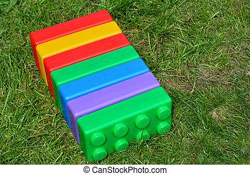 Big colorful toy blocks