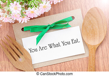 You are what you eat message in paper tag - You are what you...