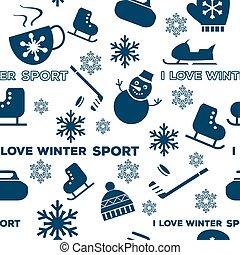 Winter sports seamless pattern white