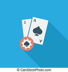 Blackjack icon Flat vector related icon with long shadow for...