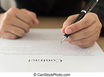 agreement and contract - Close up Hand of businessman...
