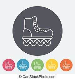 Roller skate icon Thin line flat vector related icon for web...