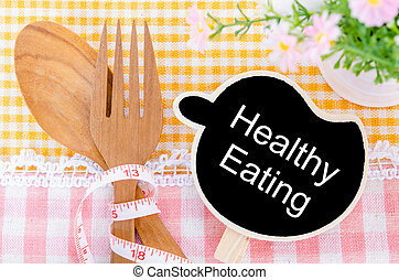 Healthy Eating concept. - Healthy Eating wood tag and wood...