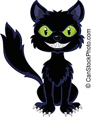 Happy black cat sitting - Vector illustration of Happy black...