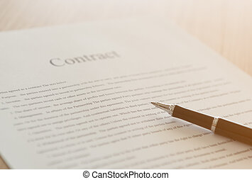 contract sign - Close up pen on formal paper contract sign