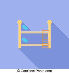 Bunk bed icon Flat vector related icon with long shadow for...