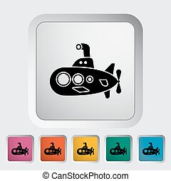 Submarine icon. Flat vector related icon for web and mobile...