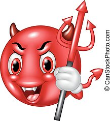 Cartoon devil emoticon with trident