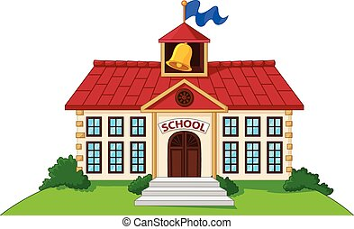 Cartoon school building isolated - Vector illustration of...
