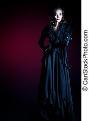 gothic style - Full length portrait of a gorgeous vampire...