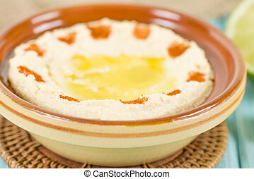 Hummus - Middle Eastern dip and spread made of chickpeas.