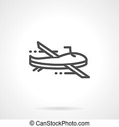 Black line military drone vector icon