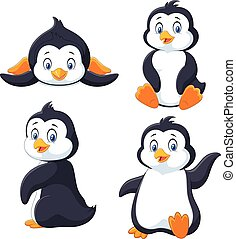 Collection of cartoon penguin