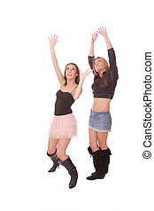 Two beautiful young women on white background