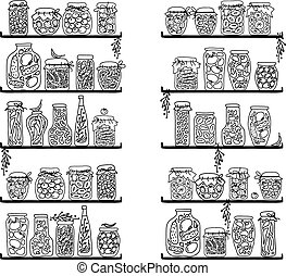 Shelves with pickle jars for your design. Vector...