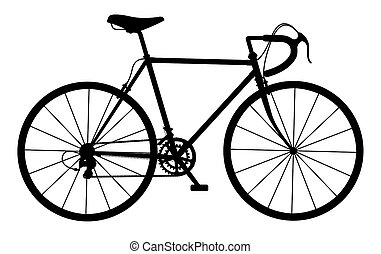 Silhouette of vintage bicycle on white background