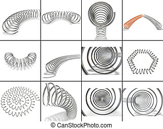 A large collection of metal springs in different positions -...