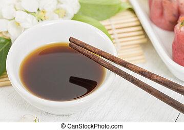 Dumpling Sauce - Close up of chopsticks resting on a small...